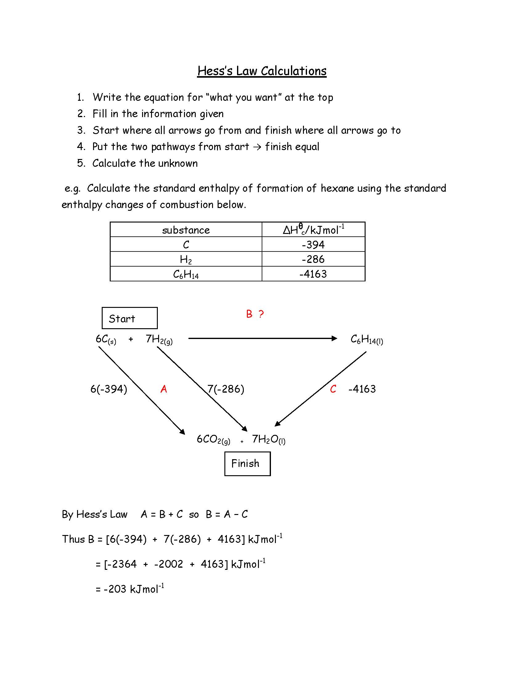 Hess's Law Calculations - Jim's Way1