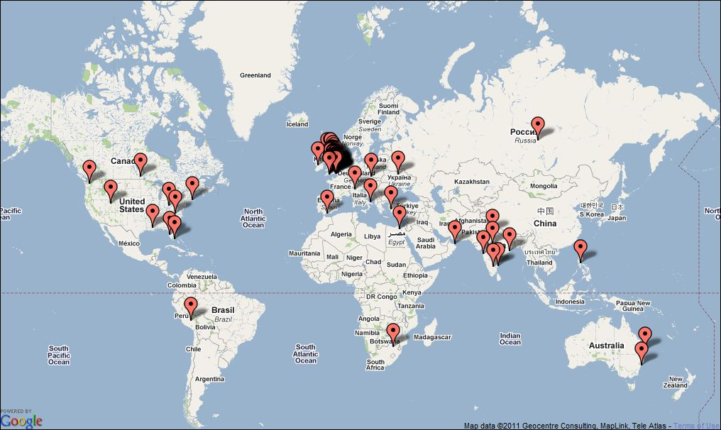 Recent Visitor Map to Jim Baker's Online Learning